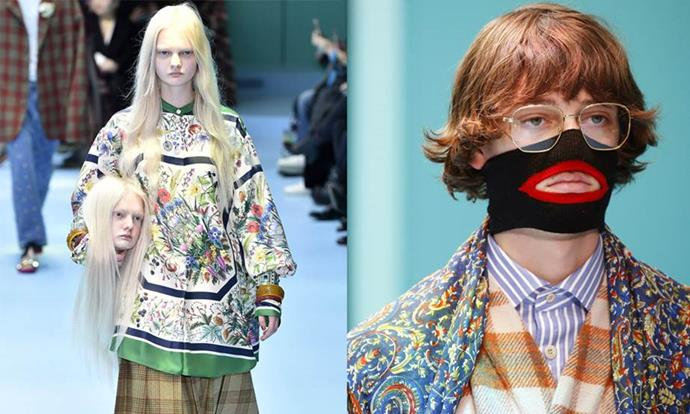 """**Gucci autumn/winter '18 (2018)** <br><br> Gucci's spring/summer '18 collection was instantly iconic, involving small baby dragons and models holding recreations of their own heads. However, the collection experienced a gaffe when a black sweater with a red cut-out mouth came under fire on the Internet for resembling blackface (pictured is the non-sweater version of the garment). <br><br> Gucci withdrew the garment from stores in February 2019, and said in a brand statement that they are """"fully committed to increasing diversity throughout our organization"""". <br><br> *Images: Getty*"""