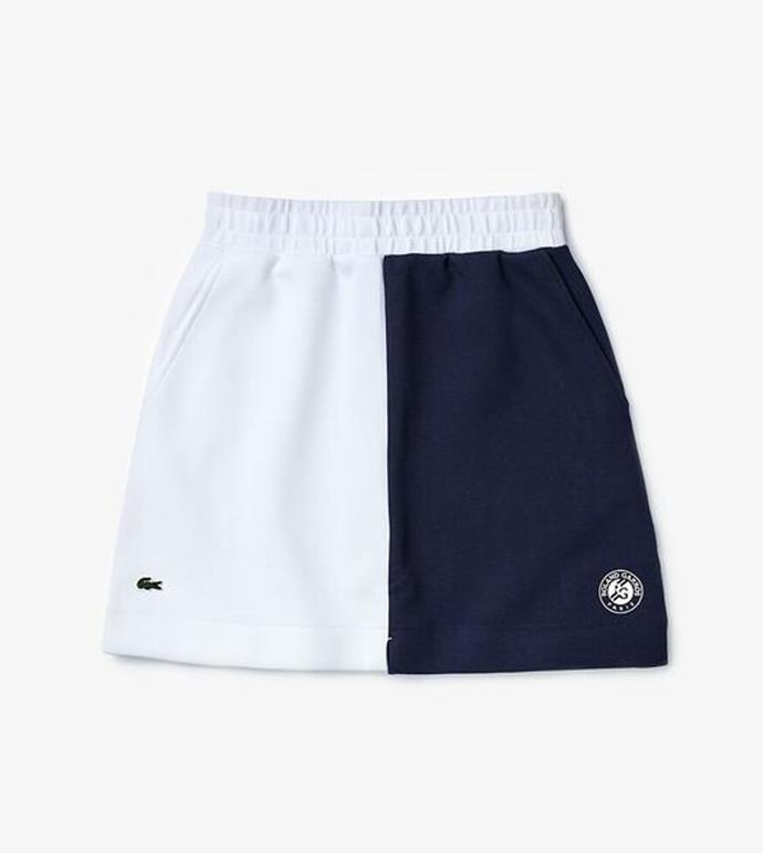 "'Women's Sport Roland Garros Colourblock Skirt', $159 at [Lacoste](https://lacoste.com.au/product/womens-sport-roland-garros-colourblock-skirt/JF3701DU9.html|target=""_blank""|rel=""nofollow"")."