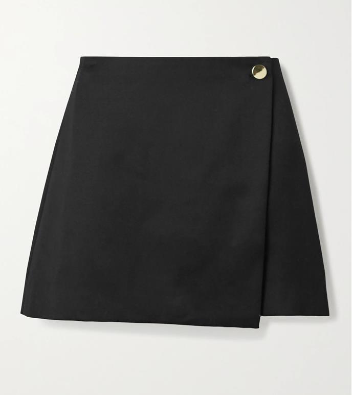 "'Renna wool-blend mini wrap skirt' by Alice + Olivia, $403.39 at [Net-A-Porter](https://www.net-a-porter.com/en-au/shop/product/alice-and-olivia/renna-wool-blend-mini-wrap-skirt/1282159|target=""_blank""|rel=""nofollow"")."