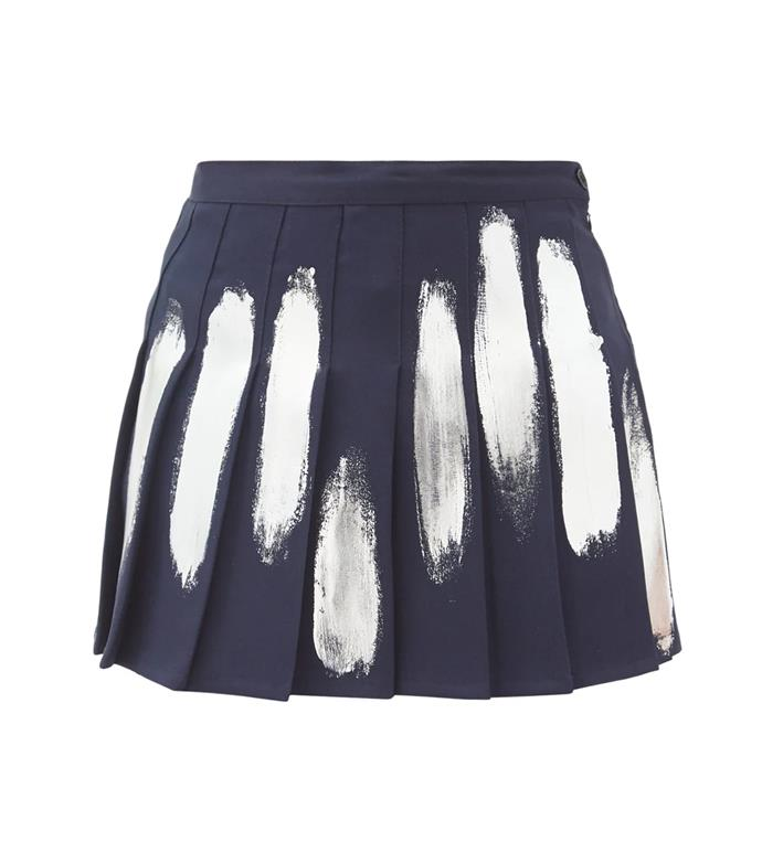 """'Hand-painted pleated mini skirt' by Germanier, $315 at [Matches Fashion](https://www.matchesfashion.com/au/products/Germanier-Hand-painted-pleated-mini-skirt-1398167
