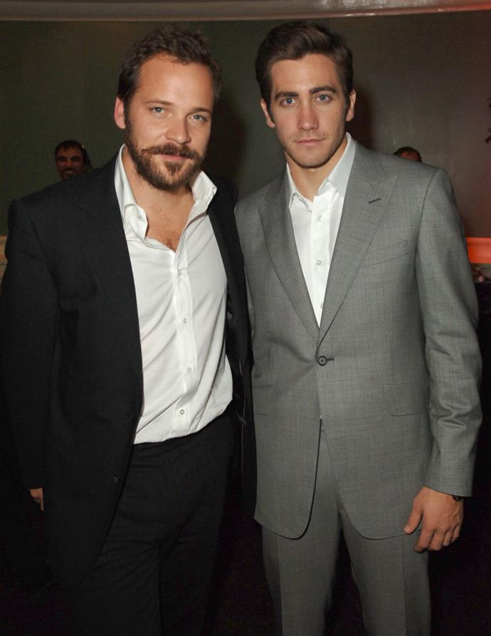 **Jake Gyllenhaal and Peter Sarsgaard** <br><br> They starred side-by-side in the 2005 war move *Jarhead*, but these pals have been close long before working together. In fact, they were friends much before Sarsgaard began dating Gyllenhaal's sister, Maggie Gyllenhaal, back in 2002. They were engaged by 2006 and married in 2009. Gyllenhaal is now an uncle to Gloria and Ramona Sarsgaard.