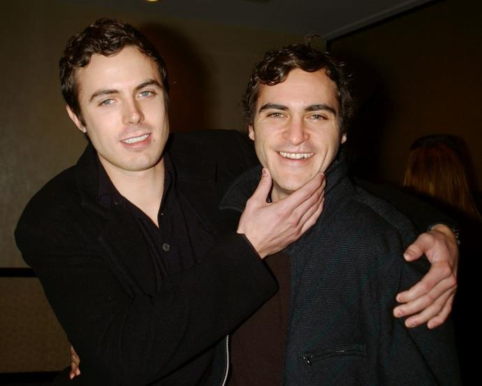 **Joaquin Phoenix and Casey Affleck** <br><br> They may not be together anymore, but Affleck was actually married to Phoenix's sister Summer for over a decade, welcoming two children together along the way.  With Affleck related by married to Jennifer Garner (via brother Ben Affleck, of course) and Phoenix married to Rooney Mara, you can imagine how this celebrity family tree is making our heads spin.