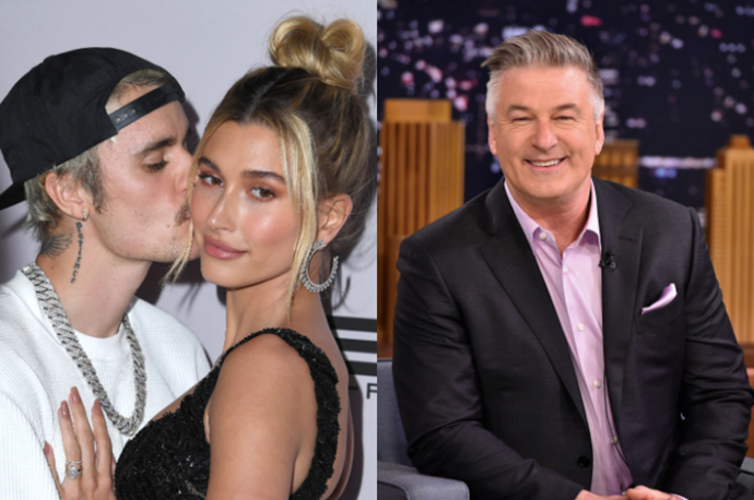 **Justin Bieber and Alec Baldwin** <br><br> Mrs. Bieber, Hailey Baldwin, is the daughter of Alec Baldwin's brother Stephen Baldwin, which, weirdly enough, makes Bieber an in-law of the *30 Rock* actor.