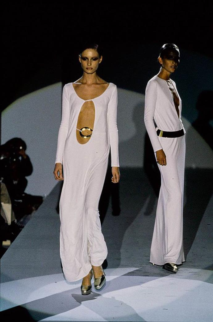 **Gucci by Tom Ford autumn/winter '96**<br><br>  Tom Ford's Gucci garments embodied female sexuality, but few more so than the cut-out dresses he showed at autumn/winter '96 (aside from maybe the divine silk shirts he'd shown in prior seasons).