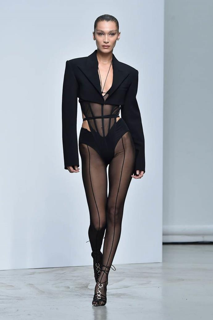 **Mugler spring/summer '20**<br><br>  Mugler's new creative director, Casey Cadwallader, chose Bella Hadid to open his debut show for the house in October 2019, and the supermodel's blazer/hoisery ensemble (complete with a sheer behind) consequently broke social media.