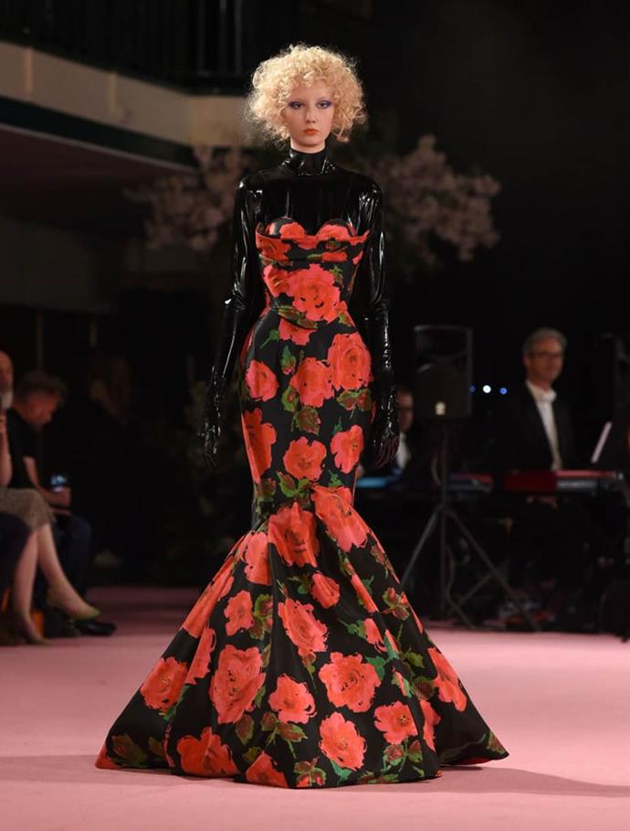 **Richard Quinn spring/summer '19**<br><br>  British designer Richard Quinn's floral-adorned garments are gorgeous on their own, but were made even slinkier with a latex under-layer at the designer's spring/summer '20 show.