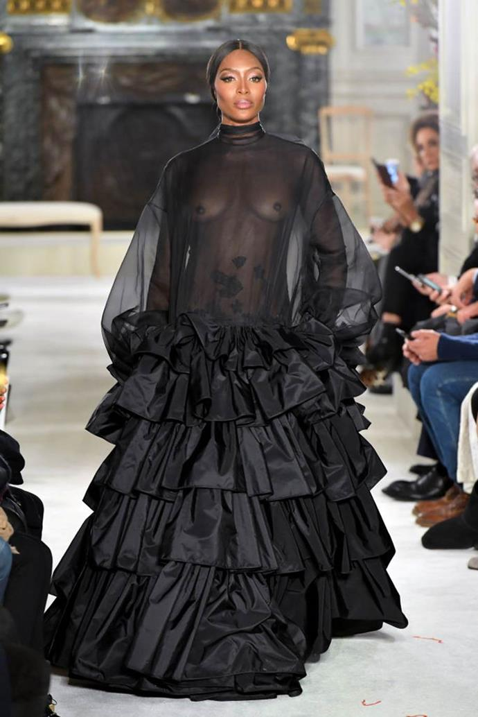 **Valentino Haute Couture spring/summer '19**<br><br>  Forty-nine-year-old supermodel Naomi Campbell chose to bare all at Valentino's spring/summer '19 show, resulting in a major fashion moment.