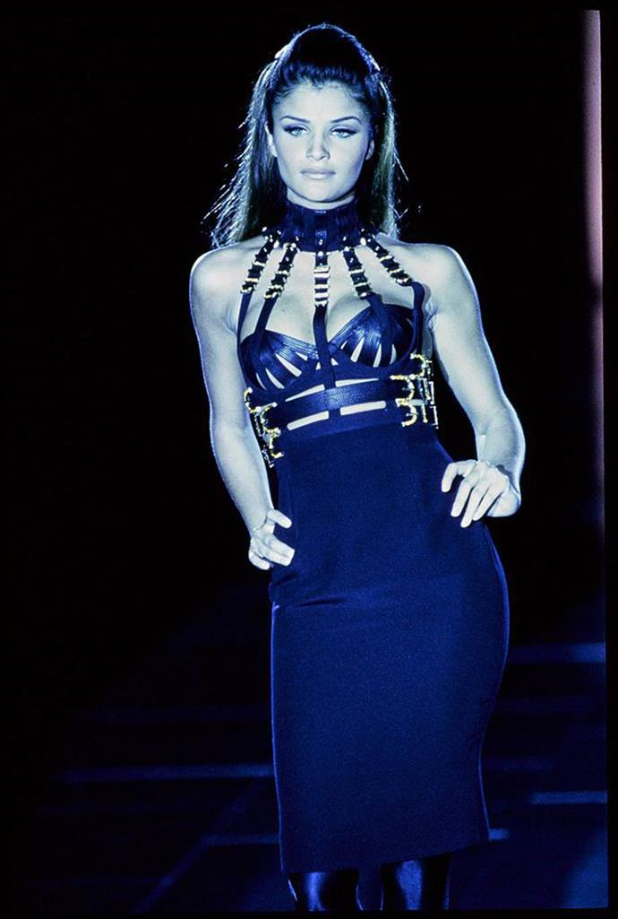 **Versace autumn/winter '92**<br><br>  This early Versace show was one of Gianni Versace's most memorable, and involved supermodel Helena Christensen walking the runway in this now-iconic 'bondage' dress.