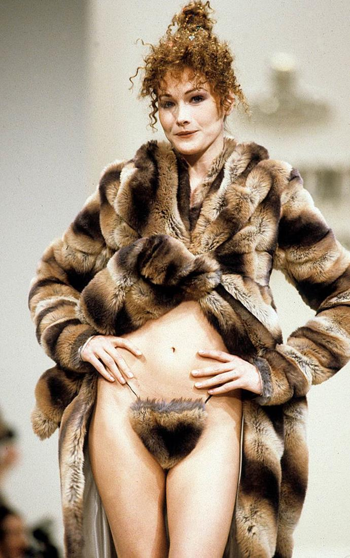 **Vivienne Westwood autumn/winter '94**<br><br>  Few runway lingerie moments are more iconic than this one, which saw Italian supermodel Carla Bruni untie her mink coat to reveal matching mink-adorned underwear.