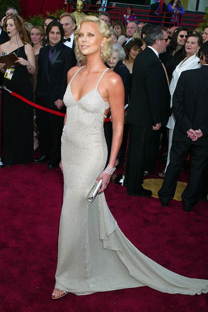 Charlize Theron in Gucci at the 76th Academy Awards in 2004.