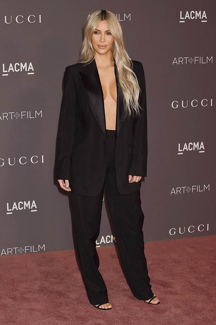 Kim Kardashian West in Tom Ford-era Gucci in 2017.