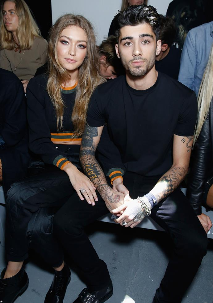 "**Gigi Hadid and Zayn Malik** <br><br> Apparently, the new parents met at Kylie Jenner's 18th birthday party and although they don't openly talk about each other much, their cute Instagram captions and public appearances have us gushing. When asked what Gigi would take to a deserted island, she replied: ""Does my boyfriend count?"" Zayn also sent a cute tweet in support of Hadid's collaboration with Tommy Hilfiger, ""Good luck tonight baby. You're about to show the world your amazing GxTH collection. I am so proud. You are an inspiration. X."""