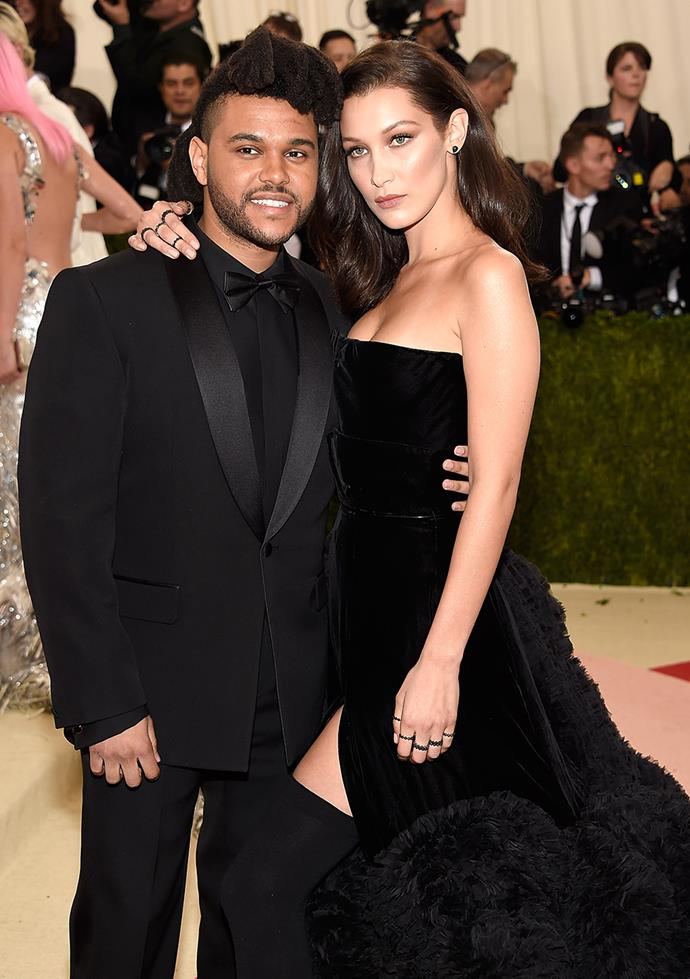 "**Bella Hadid and The Weeknd** <br><br> While they are no longer together, this ex-couple originally met on when Abel (his real name) approached Bella to be on the artwork for his album Beauty Behind the Madness. On their relationship, Bella says, ""I'm dating Abel. I don't see him as The Weeknd. I'm proud of The Weeknd and the music he makes, but I really love Abel."""