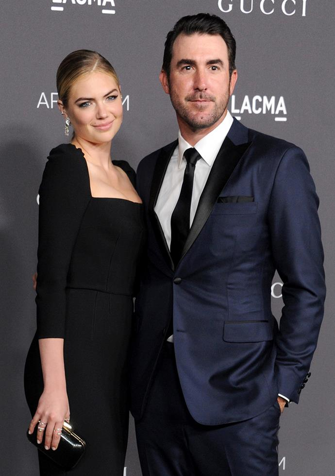 "**Kate Upton and Justin Verlander** <br><br> Rumours of a relationship between the model and baseball player started back in 2012, but it wasn't until 2014 that the two were making public appearances. Now engaged, Upton showed off her bling at this year's Met Gala saying, ""I'm really excited, he asked me right before season started so we've been keeping it on the down low for quite a while, I'm excited to finally be able to share it with the world!"""