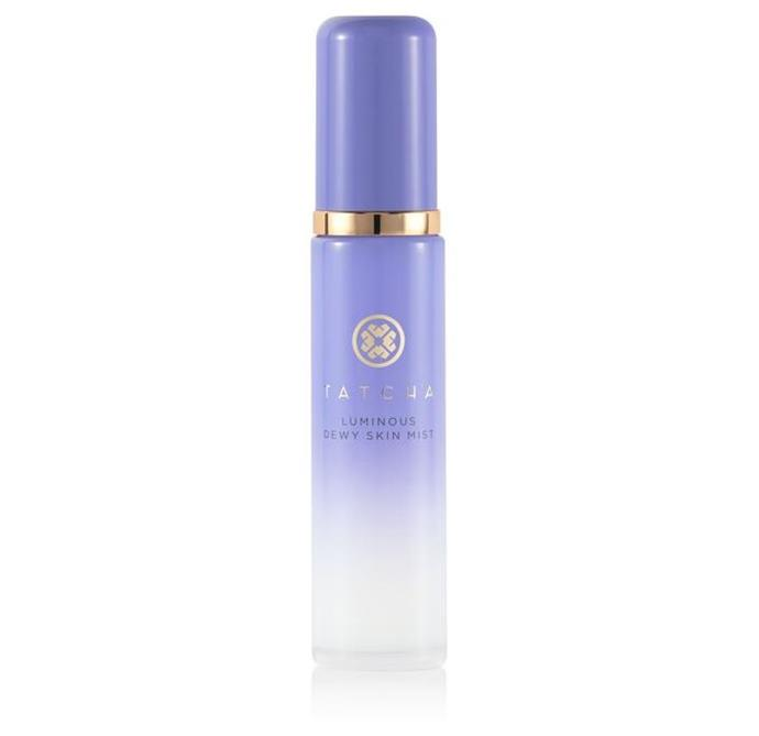 "**Finishing Touch** <br><br> Ever wondered what the trick is to her enviable all-over-glow? She credits this secret weapon, using it sparingly and focusing on areas that she wants to be a bit more radiant, like her cheekbones.  <br><br> *Luminous Dewy Skin Mist by Tatcha, $77 at [MECCA](https://www.mecca.com.au/tatcha/luminous-dewy-skin-mist/I-032390.html?gclid=Cj0KCQjwit_8BRCoARIsAIx3Rj4qZ39RExKq0pK1fdLPG1lcsXjOLBYvW1Joqxfv97n5l0cUpq4leEUaAvhSEALw_wcB&gclsrc=aw.ds|target=""_blank""