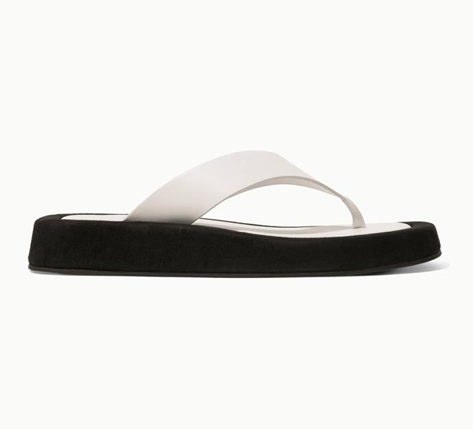 """'Ginza Two-Tone Leather and Suede Platform Flip Flops' by The Row, $1333 at [Net-A-Porter](https://www.net-a-porter.com/en-au/shop/product/the-row/ginza-two-tone-leather-and-suede-platform-flip-flops/1158612