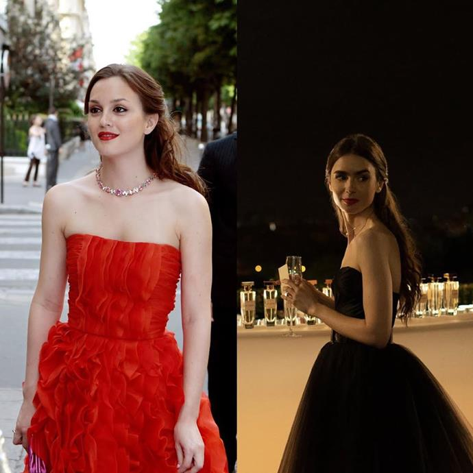 **The Strapless Dress And Half-Up-Half-Down Hair Moment**<br><br>  If this isn't the *pièce de résistance* of proof, then we don't know what is—especially considering Blair wore this glorious Oscar de la Renta dress in Paris herself. Between the strapless silhouette, choker and soft, half-up-half-down hairstyle, we're obsessed.