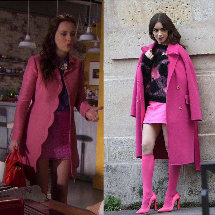 **The Fuchsia Coat And Skirt Moment**<br><br>  Fuchsia is a fierce colour and both Blair and Emily wear it well (though we could give or take Emily's socks and heels situation).