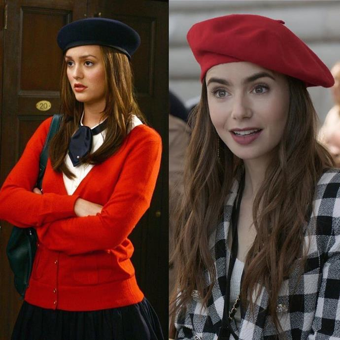 **The 'Red, White And Black' Meets 'Beret' Moment**<br><br>  Depending on your screen, Blair's 'black' might actually be navy blue, but let's just go with black for the sake of simplifying our lives, yes? Look, wearing a beret in Paris is like walking around with a croissant stuck to your head, but Blair and berets were a sartorial match made in heaven. That said, we did love this look on Emily, even if it was *très cliché*.