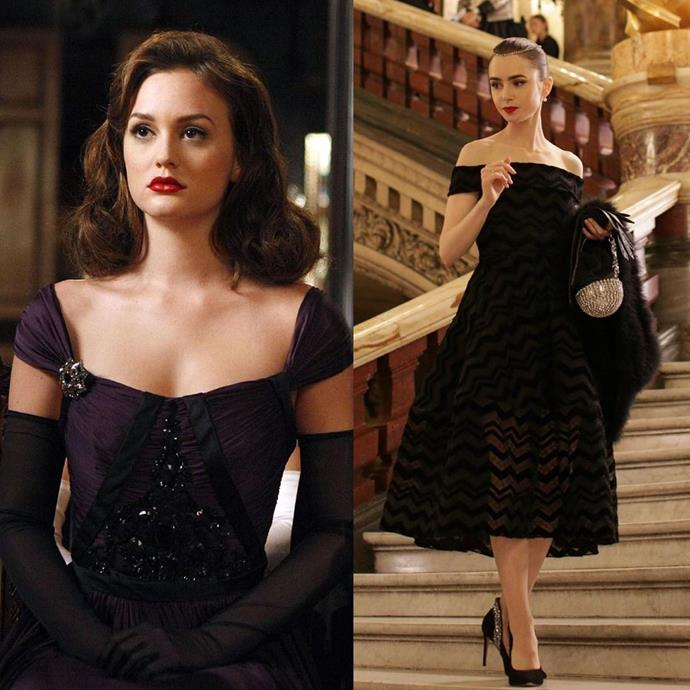 **The Old Hollywood Moment**<br><br>  *Gossip Girl* fans will no doubt remember Blair's obsession with all things Audrey Hepburn and old Hollywood, with the fashion manifesting in both her dreams and her real life. Funnily enough, costume designer Patricia Fields and Lily Collins have both spoken about how the off-shoulder black dress Emily wore to the ballet was inspired by—you guessed it—Audrey Hepburn. Sure, Hepburn is a popular style icon, but we kind of love the twinning moment nonetheless!