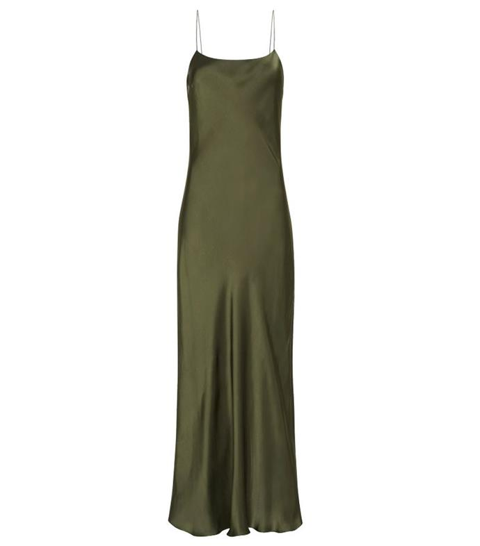 """*Dress code: Casual* <br><br> Bias Slip Dress by Matteau, $480 at [The Undone](https://www.theundone.com/collections/dresses/products/bias-slip-dress-thyme