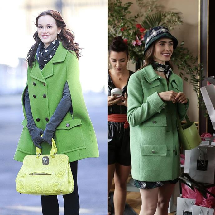 **The Green Coat Moment**<br><br>  From the bright green coat to the lime green bag and dark, printed scarf, Emily looks exactly like we did when were obsessed with Blair's preppy style circa 2010. And, no, we have no regrets.