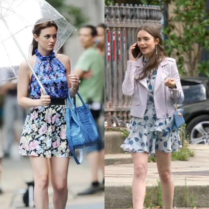 **The Cool-Toned Floral Print And Blue Bag Moment**<br><br>  Now, we're not saying it's an *exact* match in terms of actual outfit items, but there is a shared *vibe* going on here. From the cool-tone floral prints, to the soft A-line silhouette and colour co-ordinating blue bags, we're filing this one under 'evidence'.