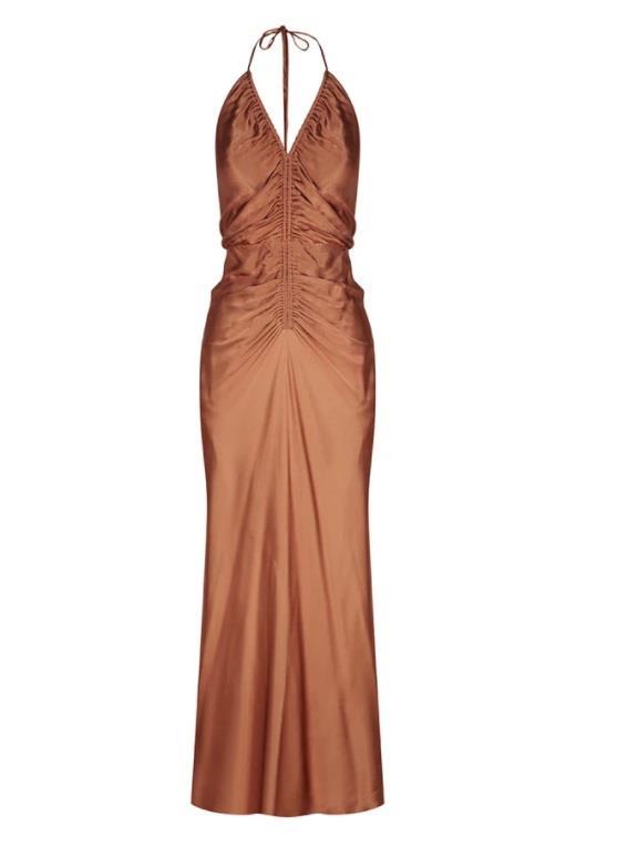 "*Dress code: Cocktail* <br><br> Gala Halter Ruched Midi Dress, $320 by [Shona Joy](https://shonajoy.com.au/collections/dresses/products/gala-halter-ruched-midi-dress-copper?variant=34803907952774|target=""_blank""|rel=""nofollow"")."
