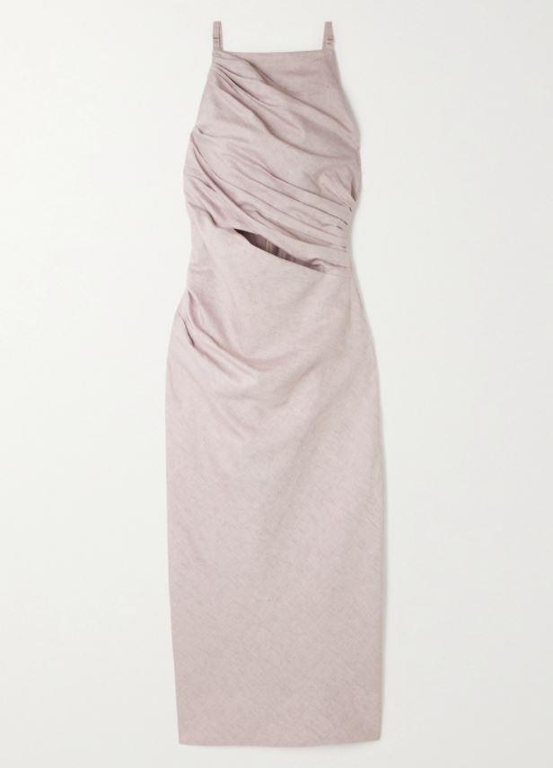 "*Dress code: Cocktail* <br><br> Cutout Cotton and Linen Blend Dress by Jacquemus, $807 at [Net-A-Porter](https://www.net-a-porter.com/en-au/shop/product/jacquemus/cutout-cotton-and-linen-blend-midi-dress/1264412|target=""_blank""|rel=""nofollow"")."