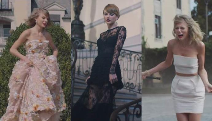 **'Blank Space' by Taylor Swift (2014)** <br><br> Swift's turn as a scorned (albeit extremely stylish) girlfriend in the 'Blank Space' clip saw her in gowns by Elie Saab, Oscar de la Renta, La Perla, and more.