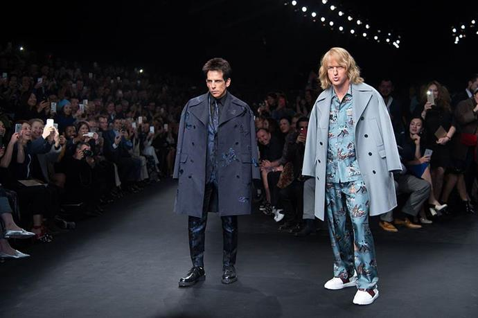 "**Ben Stiller and Owen Wilson for Valentino autumn/winter 2015/2016 at Paris Fashion Week**<br><br>  In what might be the most amusing celebrity runway cameo of all time, Ben Stiller and Owen Wilson appeared on Valentino's autumn/winter 2015/2016 runway as their *Zoolander* characters, strutting down the catwalk to Human League's ""Don't You Want Me?""."