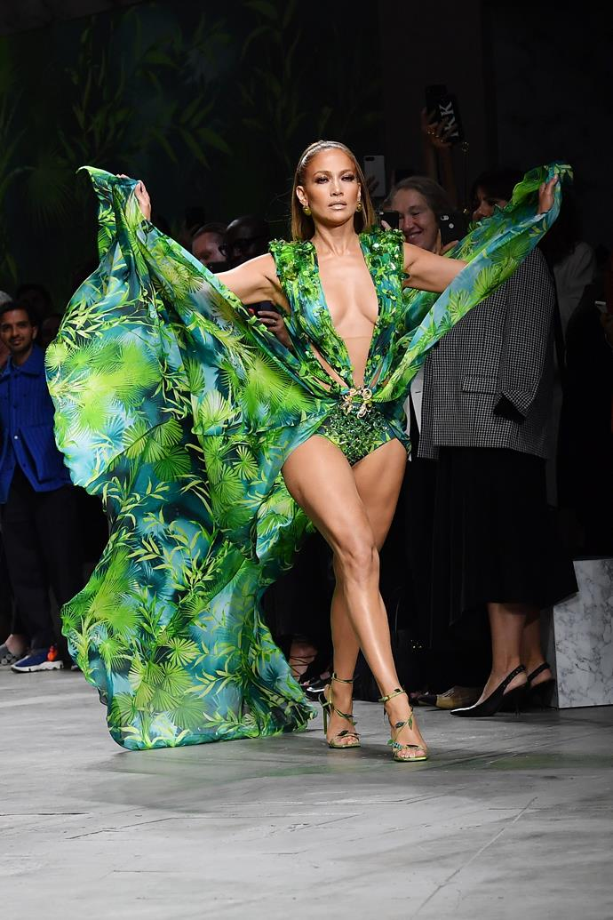 "**Jennifer Lopez for Versace spring/summer 2020 at Milan Fashion Week**<br><br>  Easily the standout moment of [Milan Fashion Week](https://www.harpersbazaar.com.au/fashion/milan-fashion-week-2019-street-style-19320|target=""_blank""), Jennifer Lopez stunned the crowd at Versace's spring/summer 2020 show when she stepped out wearing a revamped take on her [iconic jungle-print Versace dress](https://www.harpersbazaar.com.au/fashion/jennifer-lopez-versace-dress-grammys-sneaker-18990