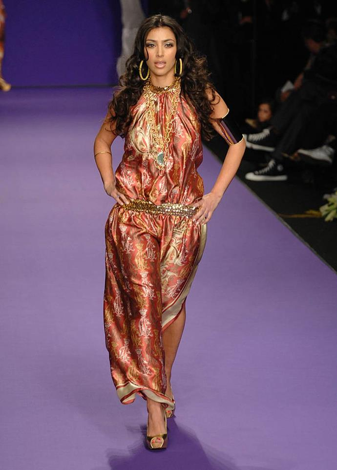 **Kim Kardashian for Christian Audigier autumn/winter 2008/2009 at L.A. Fashion Week**<br><br>  Long before her supermodel sister Kendall Jenner walked the runway, Kim Kardashian West tried her hand at the catwalk in 2007. Making an appearance for Christian Audigier, the designer behind Ed Hardy, a 26-year-old Kardashian West strutted down the runway in a number of bold, printed pieces.