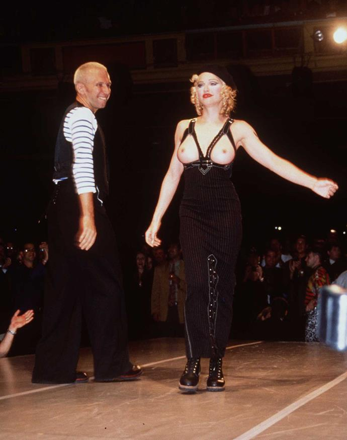 **Madonna for Jean Paul Gaultier's Hollywood fashion show for amfAR in L.A. in 1992**<br><br>  Widely considered to be the celebrity runway cameo that started them all, the moment Madonna cast aside her black blazer to reveal her bare chest on Jean Paul Gaultier's 1992 charity fashion show for amfAR remains iconic to this day.