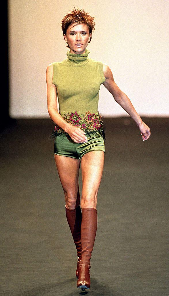**Victoria Beckham for Maria Grachvogel autumn/winter 2000/2001 at London Fashion Week**<br><br>  Like Rihanna, Victoria Beckham also has her own fashion empire, and like Rihanna, she also made her catwalk debut as a model for Maria Grachvogel in 2000.