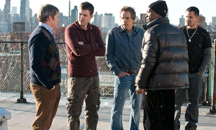 ***Tower Heist* (2011)**  <br><br> A group of hard-working men are conned out of their life savings by a twisted millionaire who owns the building they all work at. So, to exact their revenge, they scheme a plan to steal it all back.