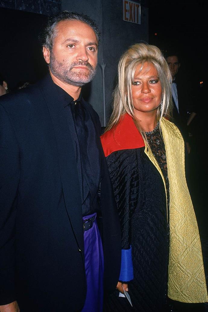 Donatella Versace in 1990 with Gianni Versace.