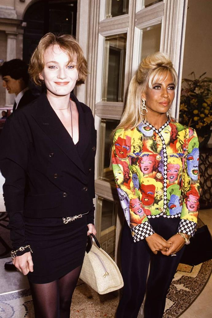 Donatella Versace in 1991 with Patricia Kaas.