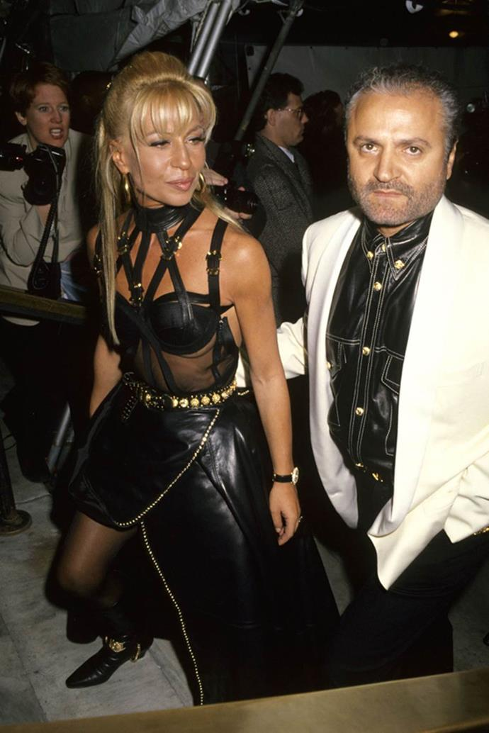 Donatella Versace in 1993 with Gianni Versace.