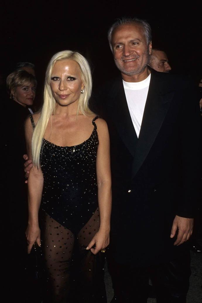 Donatella Versace in 1995 with Gianni Versace.