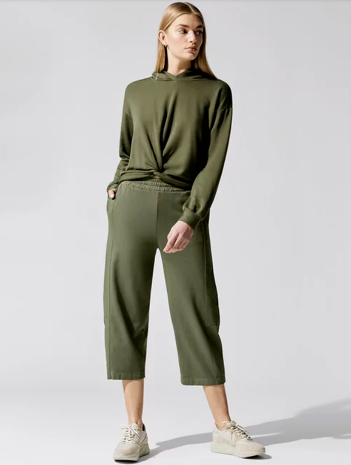 "[Viscose Fleece Front Twist Hoodie](https://www.carbon38.com/product/viscose-fleece-twist-front-hoodie-army|target=""_blank""