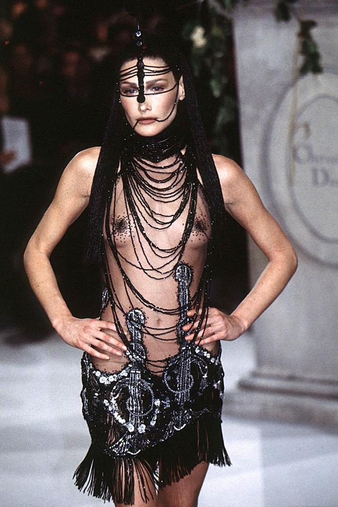 Carla Bruni at Dior Haute Couture spring/summer '97.
