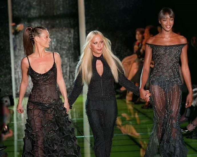 Kate Moss, Donatella Versace and Naomi Campbell at Versace Haute Couture spring/summer '99.