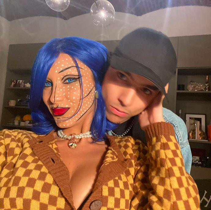 Bella Hadid as a Lichtenstein artwork.