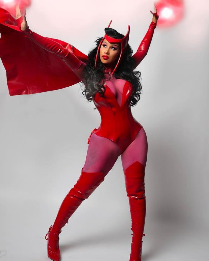 Cardi B as a scarlet witch.