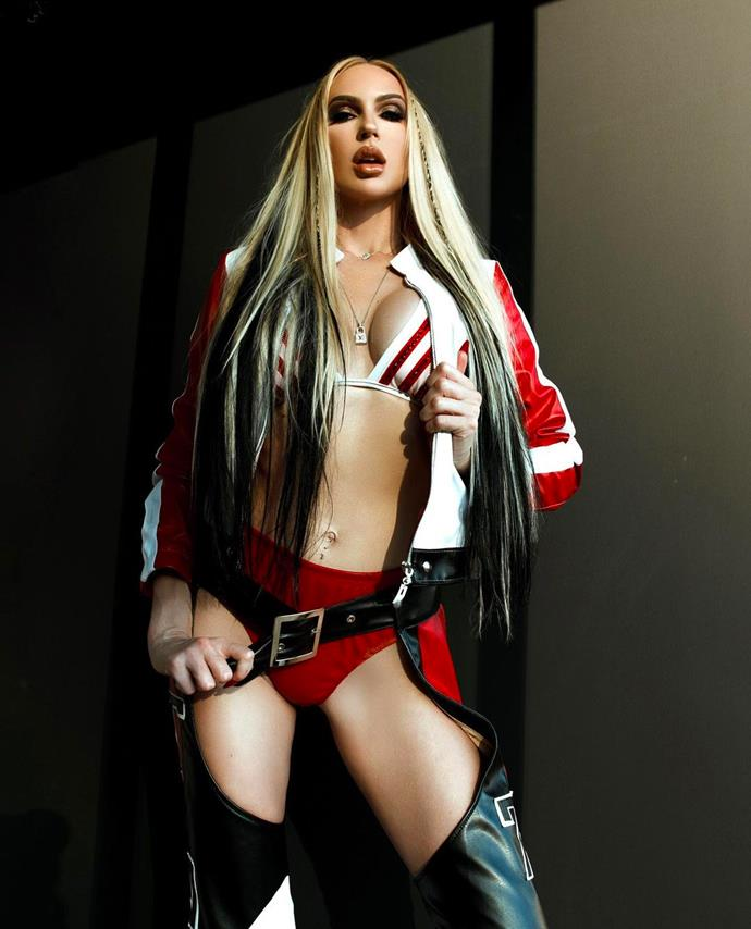 """Christine Quinn as Christina Aguilera from her 2002 music video for """"Dirrty""""."""