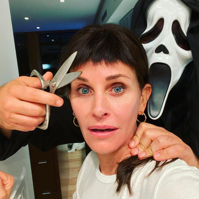 Courteney Cox as her character Gail Weathers from *Scream*.