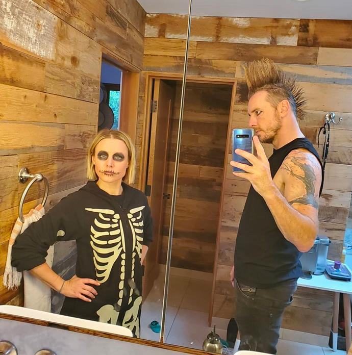 Kristen Bell and Dax Shepard as a skeleton and a punk.