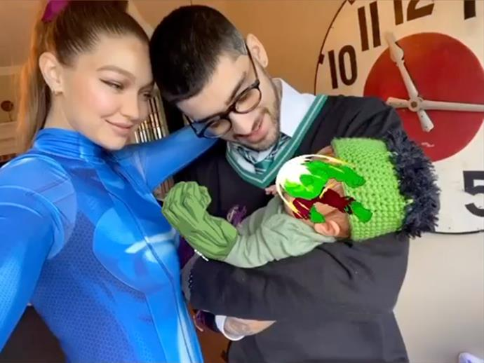 Gigi Hadid as Valorant, Zayn Malik as a Syltherin student from *Harry Potter* and their daughter as The Hulk.