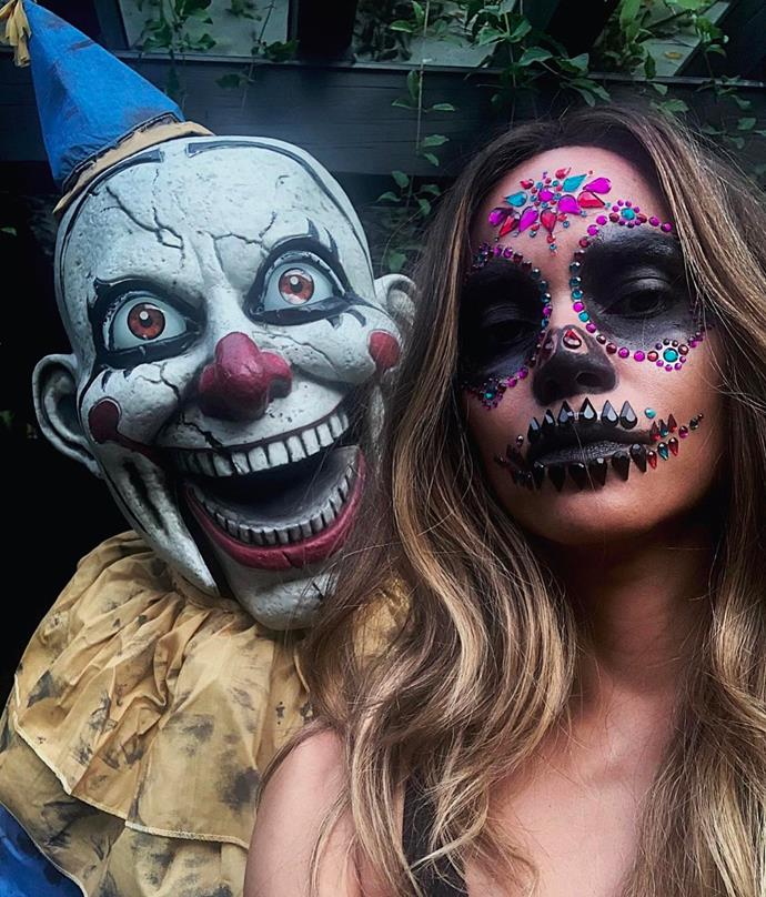 Halle Berry dressed for Día de Muertos, aka Day Of The Dead.